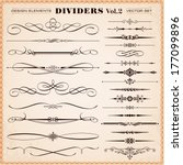 set of vector vintage... | Shutterstock .eps vector #177099896