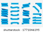 set blue ribbons banners...   Shutterstock .eps vector #1771046195