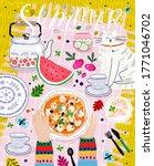 summer picnic  vector cute... | Shutterstock .eps vector #1771046702