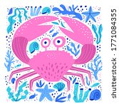 cute sea crab hand drawn vector ...   Shutterstock .eps vector #1771084355