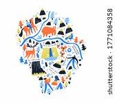 yosemite national park map hand ... | Shutterstock .eps vector #1771084358