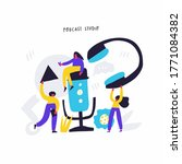 podcast show hand drawn flat... | Shutterstock .eps vector #1771084382