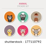 animal stickers. vector... | Shutterstock .eps vector #177110792
