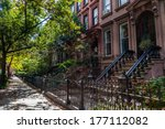 brownstone homes along... | Shutterstock . vector #177112082
