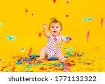 Happy Little Girl In A Dress In ...