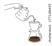barista making coffee  close up ... | Shutterstock .eps vector #1771186655