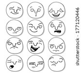 set of cartoon funny heads with ... | Shutterstock .eps vector #177120446