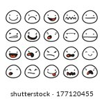 set of cute smiley faces with... | Shutterstock .eps vector #177120455