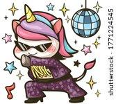 cute unicorn dancing disco with ... | Shutterstock .eps vector #1771224545