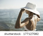 young woman in white swimsuit... | Shutterstock . vector #177127082