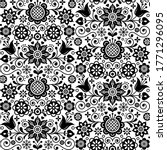 Floral Seamless Folk Art Vector ...