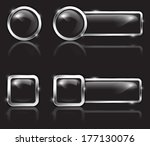 black glossy button set for web.... | Shutterstock .eps vector #177130076