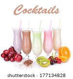 milk shakes with fruits... | Shutterstock . vector #177134828