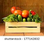 various vegetables in a wooden... | Shutterstock . vector #177142832