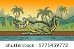 happy cartoon crocodile resting ... | Shutterstock .eps vector #1771459772
