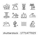 vector nature icons set  desert ...