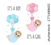 """Cute babies in diapers on the balloons with phrase """"It's a boy"""" and """"It's a girl"""""""