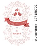 happy women's day greeting card ... | Shutterstock . vector #177158702