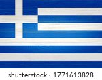 Greece Flag Painted On Old Woo...