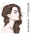 beautiful girl with long hair.... | Shutterstock .eps vector #1771621268