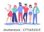 friends diverse group hugging... | Shutterstock .eps vector #1771652315