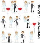 set of wedding pictures  bride... | Shutterstock .eps vector #177165308