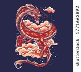 chinese dragon with cloud... | Shutterstock .eps vector #1771663892
