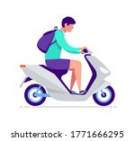 tourist rent and rides a moto... | Shutterstock .eps vector #1771666295