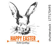 Card With Sketch Easter Rabbit. ...