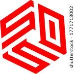 hexagonal logo vector. text... | Shutterstock .eps vector #1771713002