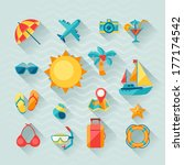 travel and tourism icon set in... | Shutterstock .eps vector #177174542