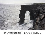Hōlei Sea Arch, a natural lava feature carved into the cliffy Puna Coast at the end of the Chain of Craters Road in Hawaii Volcanoes National Park on the Big Island.