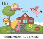 alphabet.u letter.ufo u turn... | Shutterstock .eps vector #177175382