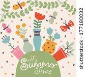 cute summer vector illustration ... | Shutterstock .eps vector #177180032