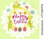 Happy Easter Card In Vector....