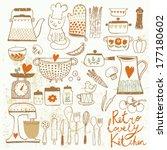 vintage kitchen set in vector.... | Shutterstock .eps vector #177180602