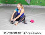 Rock Climber Woman Sitting...
