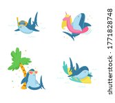 set of cute sharks snorkeling ... | Shutterstock .eps vector #1771828748