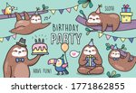 set of sloths birthday party... | Shutterstock .eps vector #1771862855