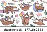 set of sloths birthday party...   Shutterstock .eps vector #1771862858