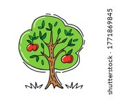 hand drawn apple tree isolated... | Shutterstock .eps vector #1771869845