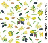 olives seamless pattern in flat ... | Shutterstock .eps vector #1771901648