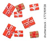 Set Of Wrapped Gift Boxes With...
