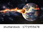 Small photo of Comet, asteroid, meteorite glows, attacks, enters falls attacks the earth's atmosphere. End of the world. Collision of asteroid with the planet Earth. Elements of this image furnished by NASA.