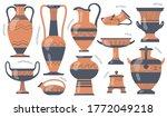 Greek Pottery Jugs Set. Urns ...