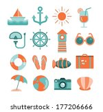 vector set of sea and beach... | Shutterstock .eps vector #177206666