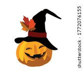 jack the pumpkin in the witch's ... | Shutterstock .eps vector #1772076155