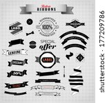 set of retro ribbons and labels ... | Shutterstock . vector #177209786