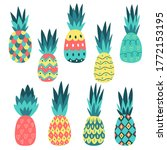 set of colorful pineapples.... | Shutterstock .eps vector #1772153195