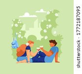 people on a picnic. vector...   Shutterstock .eps vector #1772187095